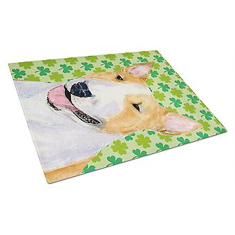 Bull Terrier St. Patricks Day Shamrock Portrait Glas Schneidebrett groß