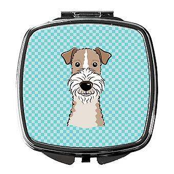 Checkerboard Blue Wire Haired Fox Terrier Compact Mirror
