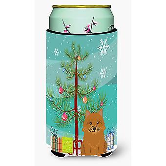 Merry Christmas Tree Norwich Terrier großer Junge Getränk Isolator Hugger
