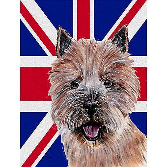 Norwich Terrier com inglês Union Jack bandeira britânica bandeira lona casa tamanho