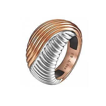 Joop women's ring stainless steel Silver Rosé waves JPRG10609A