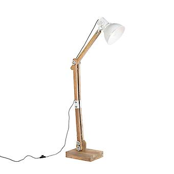 Light and Living Industrial Floor Lamp Natural Wood with White Shade - Bella