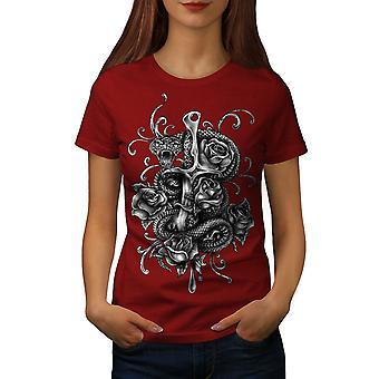 Snake With Dagger Women RedT-shirt | Wellcoda