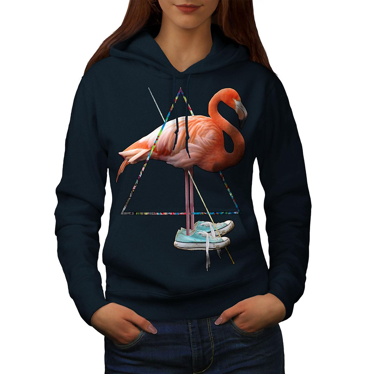 Flamingo Shoe Bird Shoe Flamingo Women NavyHoodie | Wellcoda 539b2d
