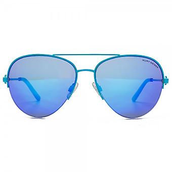 Kurt Geiger Grace Semi Rimless Pilot Sunglasses In Blue Mirror