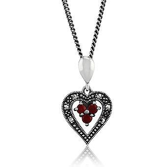 Sterling Silver 0.12ct Garnet & Marcasite Heart 45