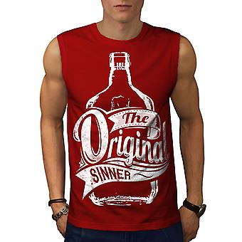 Unique Sinner Funny Men RedSleeveless T-shirt | Wellcoda