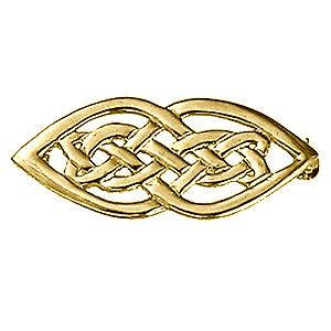 9ct Oro 21x40mm Broche celta diseño del nudo