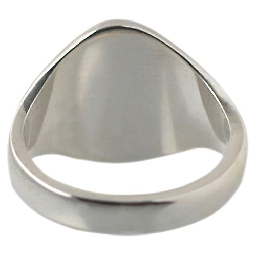 Silver 13x10mm plain solid oval Signet Ring Size Q