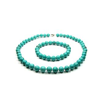 Set necklace and Bracelet in 925 Silver and Turquoise Gem beads woman