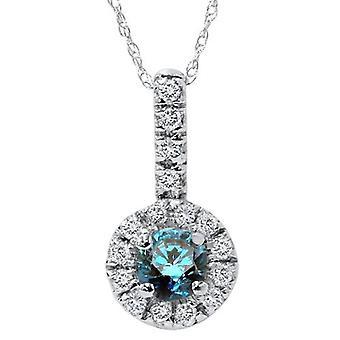 1 / 2ct blå diamant Solitaire hänge 14K vitt guld