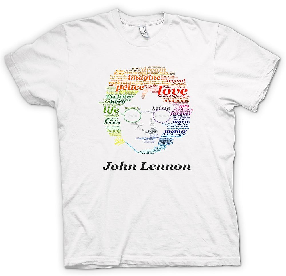 Womens T-shirt-John Lennon Lyrics på ansikte