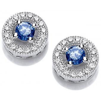 Cavendish French Twinkle Toes Solitaire Earrings - Silver/Blue