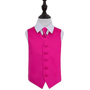 Hot Pink Plain Satin Wedding Waistcoat & Tie Set for Boys