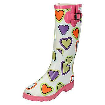 Girls Spot On Heart Print Wellington Boots