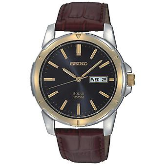 Seiko Solar Stainless Steel Gold Brown Leather Strap Men's Watch SNE102P9