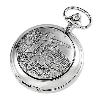 Woodford Hunter and Dog Quartz Chain Pocket Watch - Silver