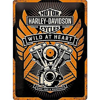 Harley Davidson Wild At Heart Large Embossed Metal Sign 400Mm X 300Mm