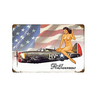 P-47 Thunderbolt Pinup Rusted Metal Sign (Pst 460Mm X 300Mm)