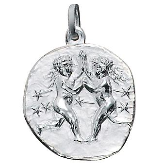 Trailer Zodiac twin 925 sterling silver frosted zodiac sign pendant