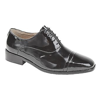 Mens Patent Coated Leather Upper Leather Sole Lace Up Oxford Tie Formal Dress Shoes