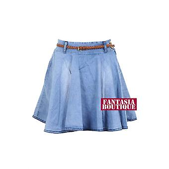 New Ladies Light Weight Denim Stone Wash Women's Mini Skirt