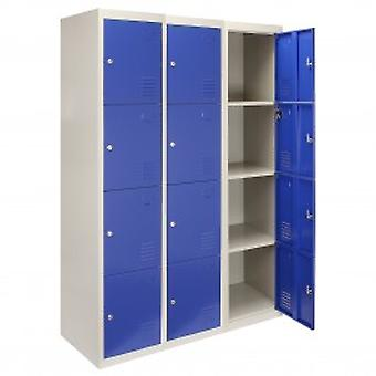 3 x Metal Storage Lockers - Four Doors, Blue