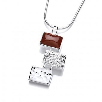 Cavendish Français Silver et rouge Jasper oblong pendentif sans chaîne