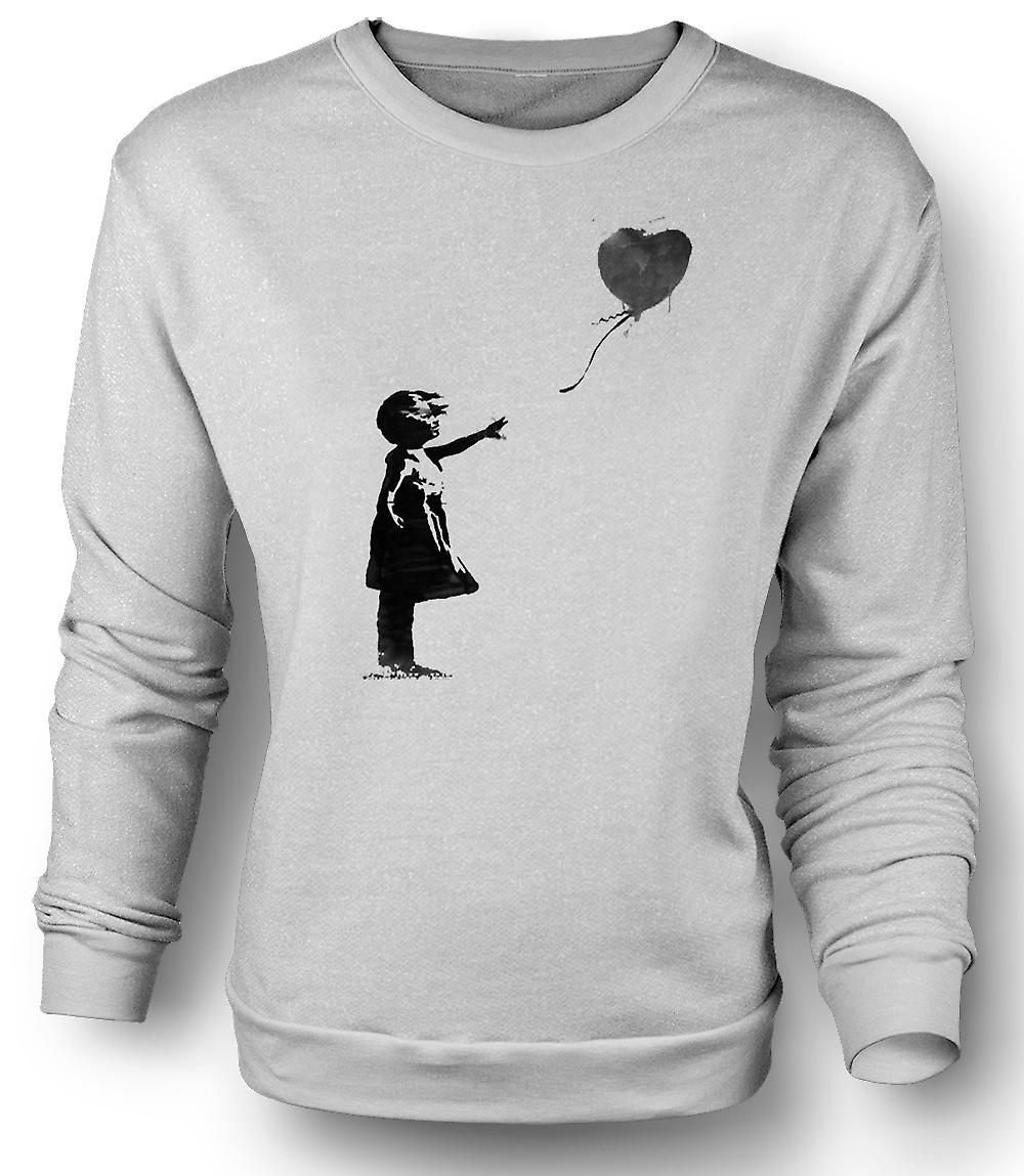Mens-Sweatshirt-Banksy-Graffiti-Kunst - Ballon