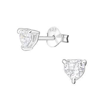 Heart - 925 Sterling Silver Classic Ear Studs - W5266X