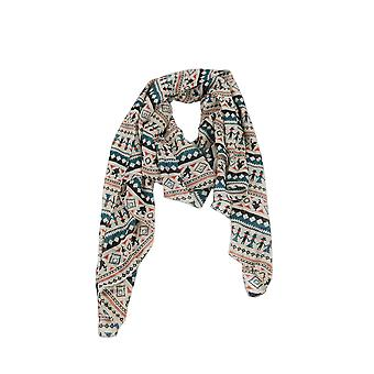 Lovemystyle Beige Scarf With Multi Colour Aztec Print