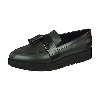 Geox D Blenda A Smooth Leather Womens Slip on Shoes - Anthracite