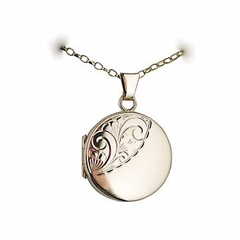 9ct Gold 20mm half hand engraved flat round Locket with a belcher Chain 22 inches