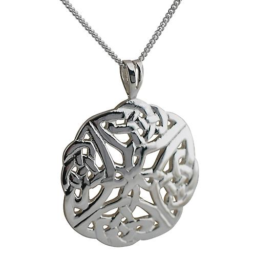 Silver 27mm Celtic knot Pendant with a curb Chain 24 inches