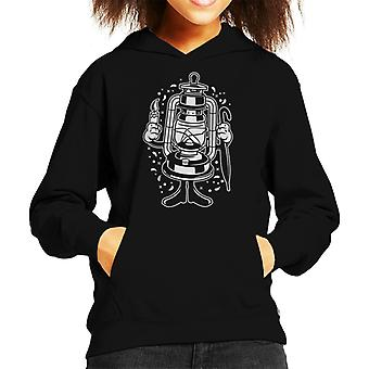 Lantern With A Candle And Umbrella Kid's Hooded Sweatshirt
