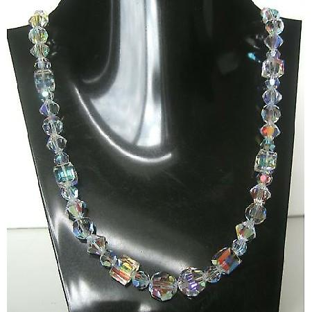 Handcrafted Swarovski AB Crystals Multi Sizes Shapes Necklace