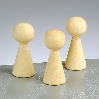 4 Wooden Cone Body Shapes - 50mm | Wooden Shapes for Crafts