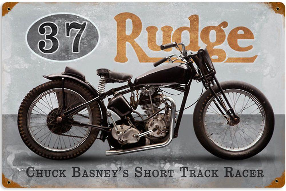 Rudge Coventry Chuck Basney rusted steel sign  (pst 1812)