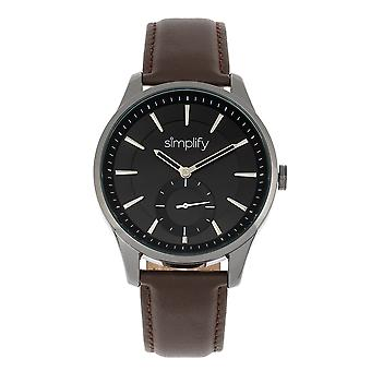 Simplify The 6600 Series Leather-Band Watch - Brown/Black