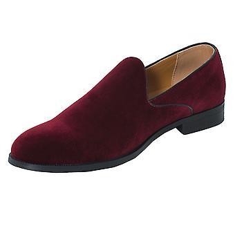 Dobell Mens vinröd klänning skor sammet Slip-On