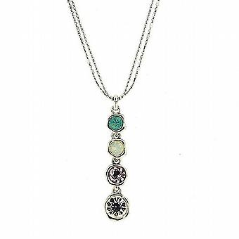 Park Lane Silvertone Multicoloured Glass Set Pendant Necklace 16.5