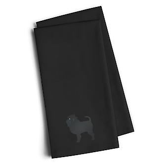 Affenpinscher Black Embroidered Kitchen Towel Set of 2