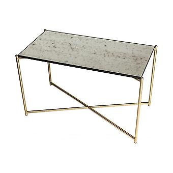 Gillmore Space Antiqued Glass Rectangular Side Table With Brass Cross Base