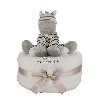 Unisex Baby Nappy Cake Gift with zebra