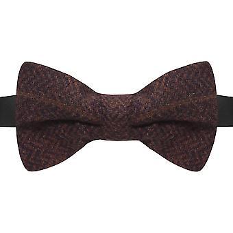 Luxury Mahogany Brown Herringbone Check Bow Tie, Tweed, Brick Red