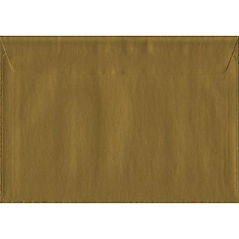 Gold Peel/Seal C6/A6 Coloured Gold Envelopes. 100gsm FSC Sustainable Paper. 114mm x 162mm. Wallet Style Envelope.