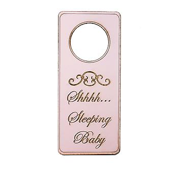 Pink shh sleeping baby door hanger - raw wood