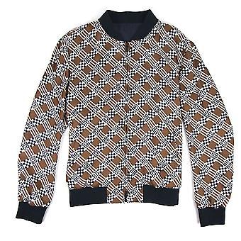 Fendi Reversible Geometric Print Silk Bomber Jacket Natural Damier Checks