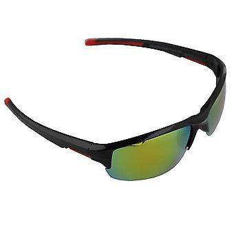 Sonnenbrille Sport Rechteck polarisierendes Glas schwarz gelb mehrfarbig FREE BrillenkokerS328_3