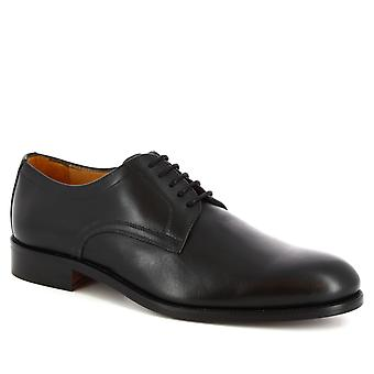 Leonardo Shoes Men-apos;s chaussures Oxford élégantes faites à la main en cuir de veau noir